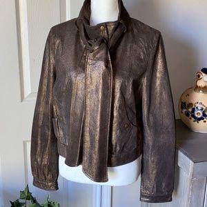 Bagatelle Leather Bronze Brown Bomber Jacket SZ L